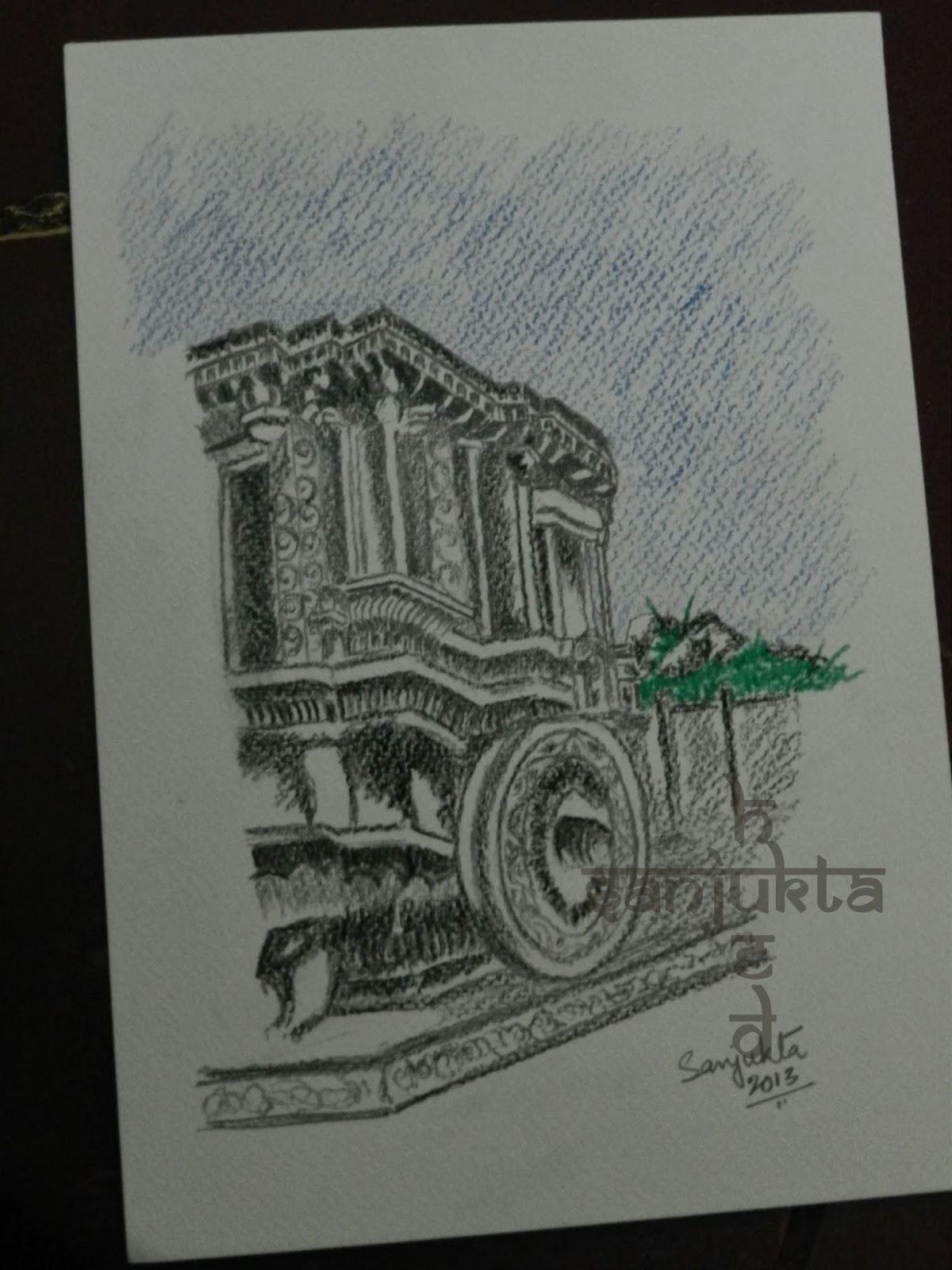 Stone chariot painting, Hampi painting, hued, sanjukta
