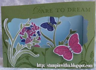 Beautiful Butterfly and Flowers Diorama Card
