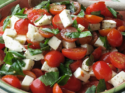 Caprese Salad with Grape Tomatoes, Mozzarella and Basil Recipe