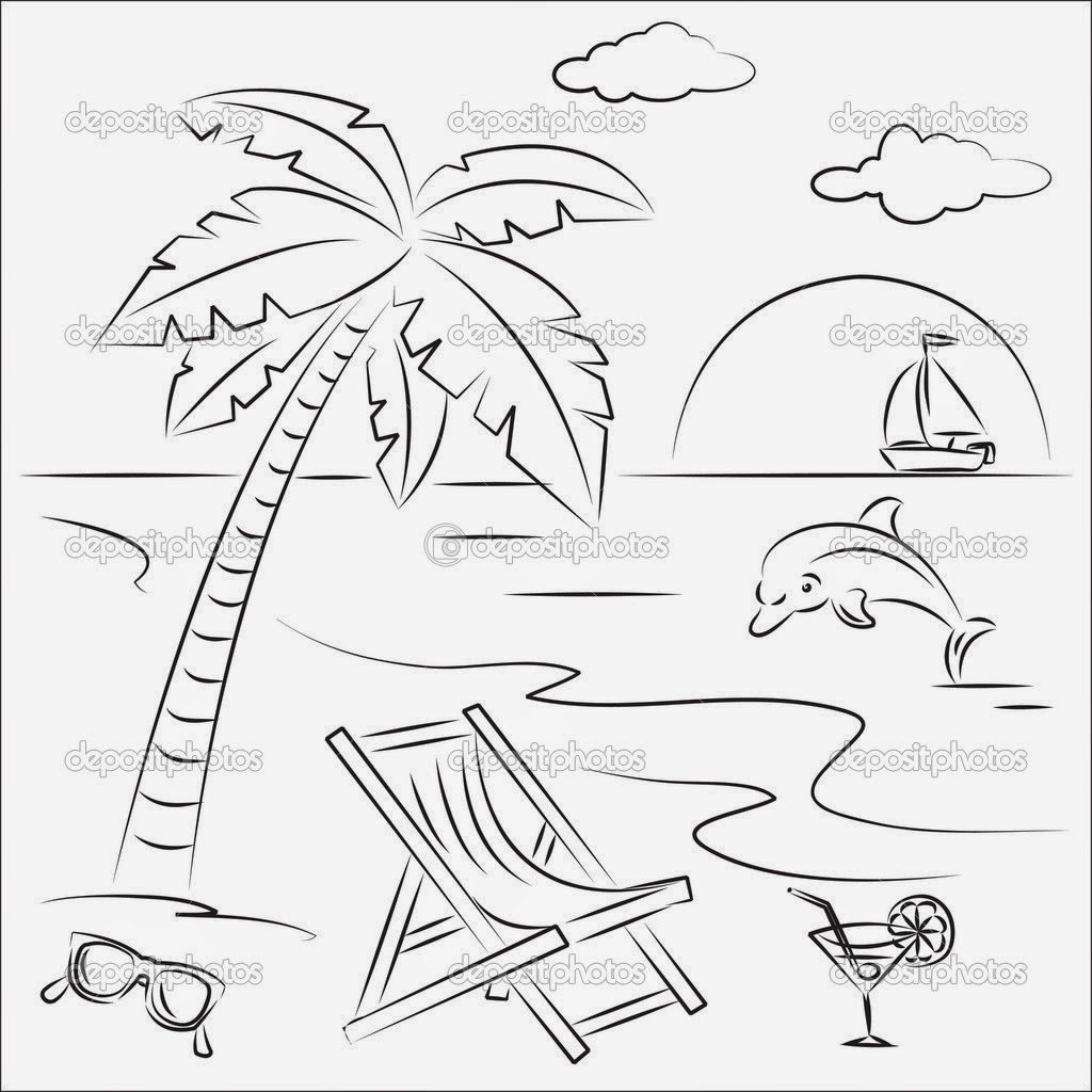 10 summer coloring pages for kids beach scene