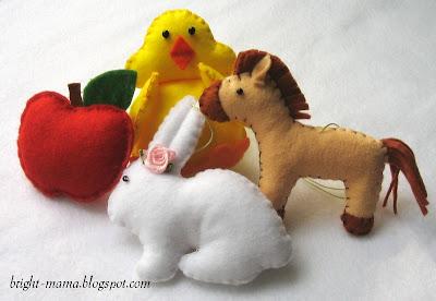 Фетровые  елочные  игрушки малышам, безопасные игрушки на елку