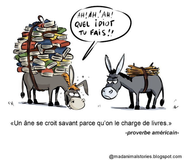 citation un âne se croit savant parce qu'on le charge de livres