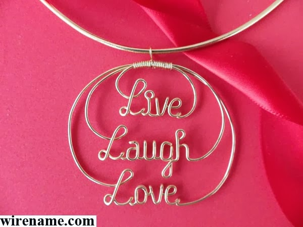 """Live Laugh Love"" gold wire circle pendant for choker-necklace or neck-wire"
