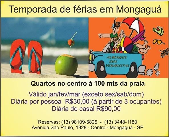 Hospede-se no meio de semana e aproveite nossa promoção!  Faça o check-in segunda, terça, quarta ou quinta-feira e pague menos, Hospede-se a 100 metros da principal praça de Mongaguá! Veja em imagens do Google - Praça Dudu Samba - Mongaguá É aqui que acontece os grandes eventos em Mongaguá  Conheça nosso hostel e participe conosco de um novo conceito de hostelling! Reservas - (13)98109-6825 - (13)3448-1180 Avenida São Paulo, 1828 - Centro - Mongaguá - SP Albergue dos Veranistas - uma casa preparada para hospedar você!
