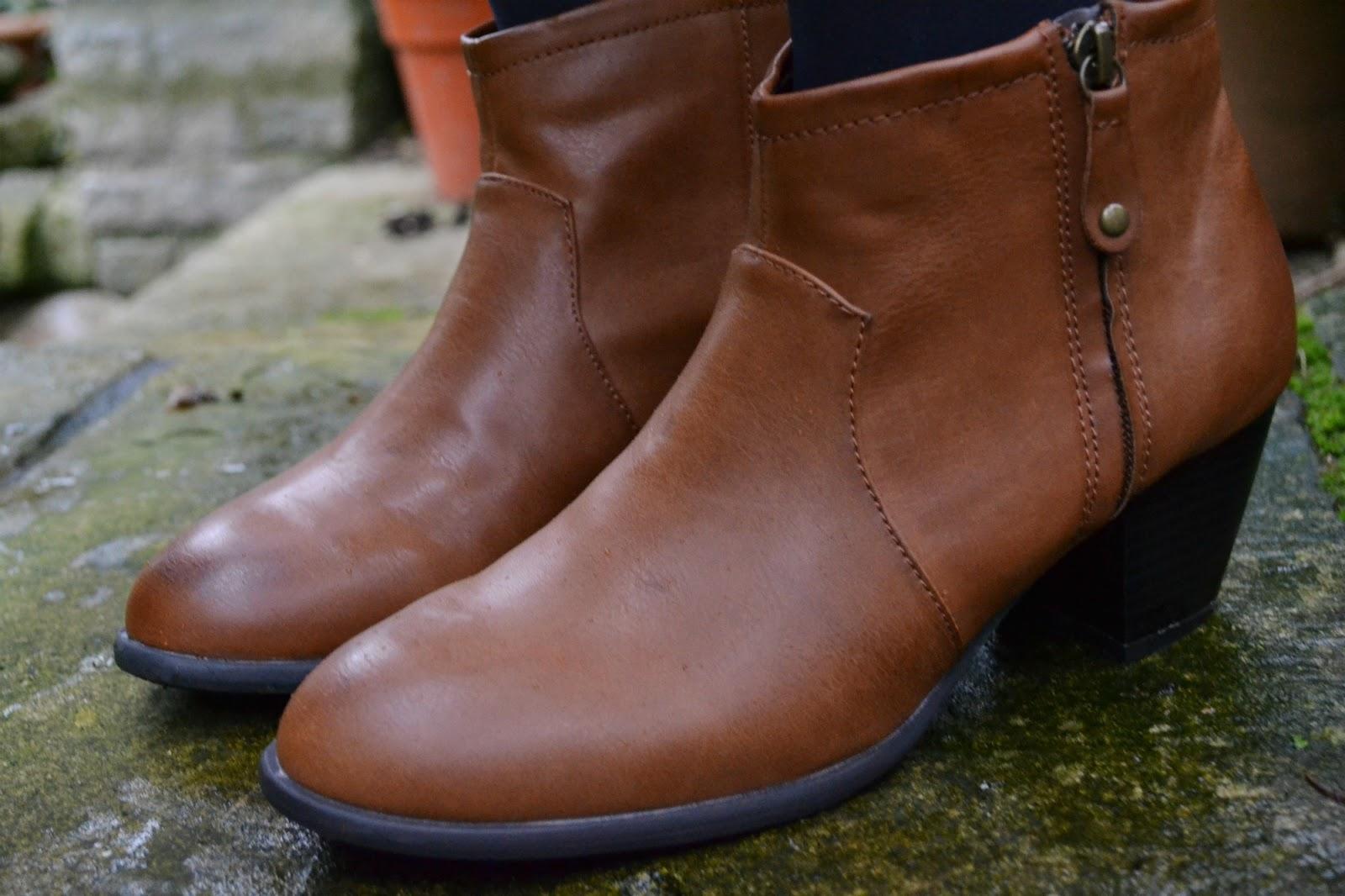 debenhams tan ankle boots heel zip sale