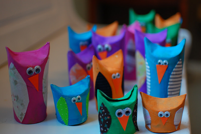 Cute owl craft for Toilet paper tube owls
