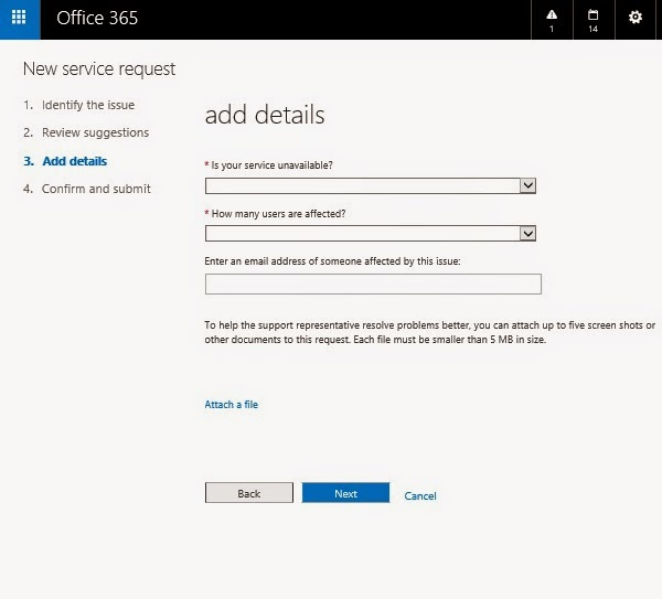 service request for office 365 helpdesk support team 24