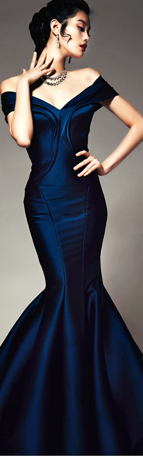 Amazing fashionable dark blue night dress - woman inspiration