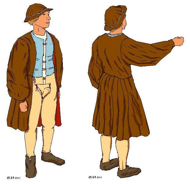 Example of Flemish Peasant Renaissance Clothing for Men 1500s