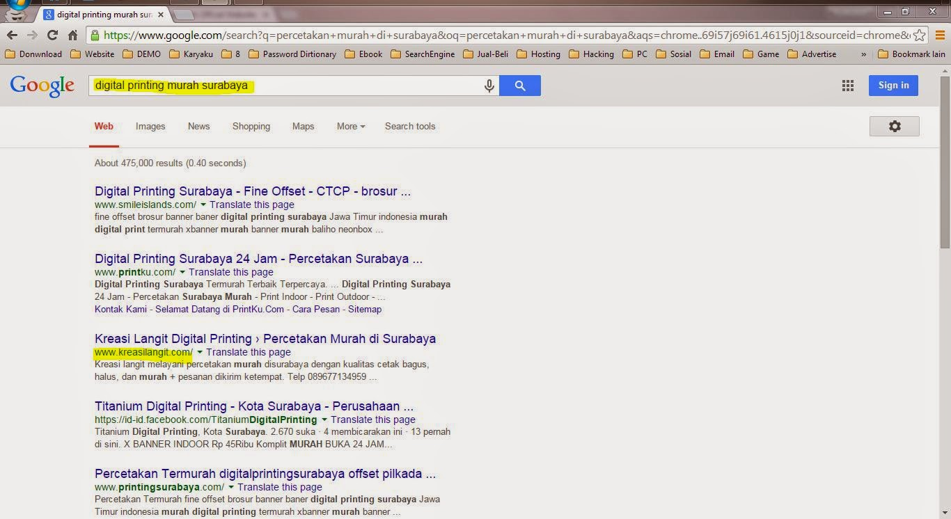 Website Percetakan Surabaya - Kreasilangit.com