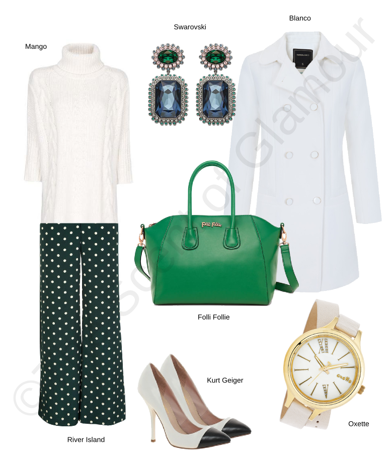 mango white knitwear, blanco white coat, kurt geiger black white heels, oxette white watch, swarovski green and blue earrings, river island green polka dots trousers, folli follie green bag
