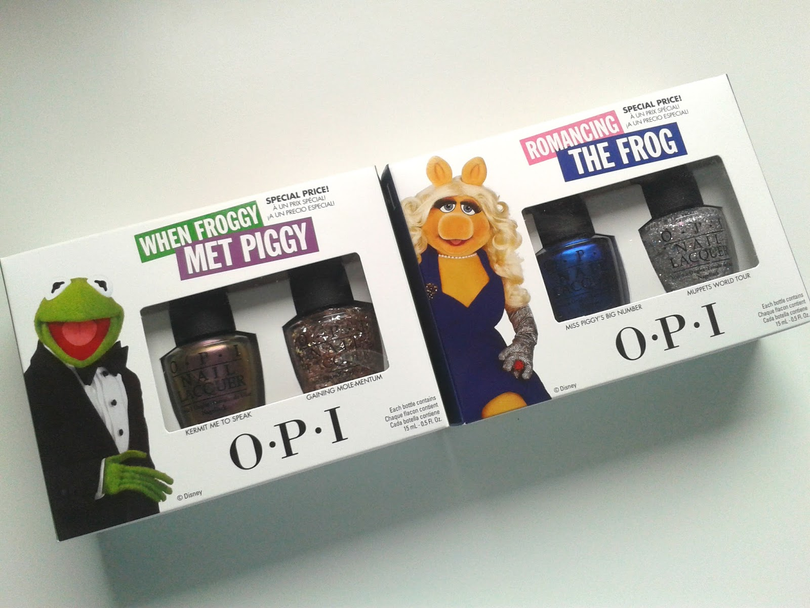 OPI When Froggy Met Piggy Duo OPI Romancing the Frog Duo muppets most wanted review