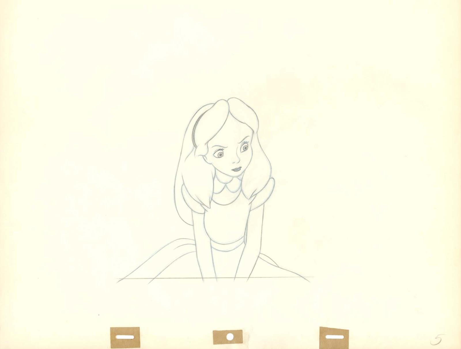 One Line Art Animation : Vintage disney alice in wonderland: looks annoyed animation
