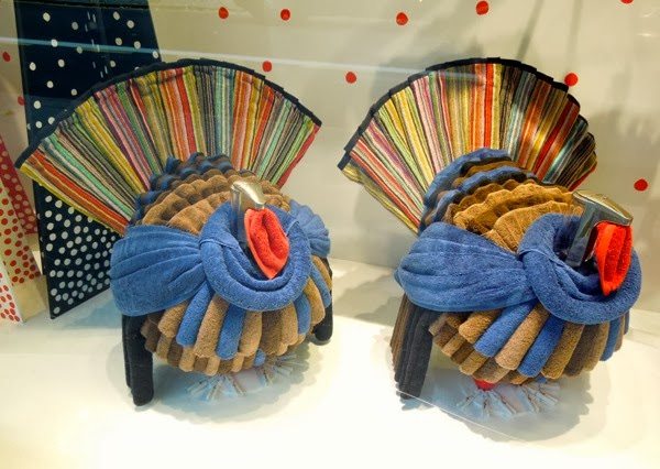 Towel turkeys Christmas window Peter Jones
