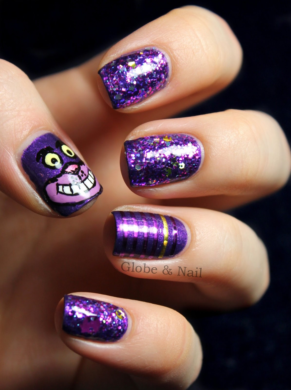 Anywho Long Introduction Done Here S The Nail Art I Did Inspired By Cheshire Cat That Thing In Disney Version Creeps Me Out But Way They
