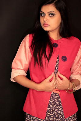 'A' by Anubha, Anubha Srivastav, silk khadi jacket, two color jacket, smart jacket look, color block jacket