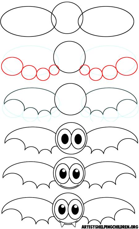 Как рисовать летучих мышей карандашом