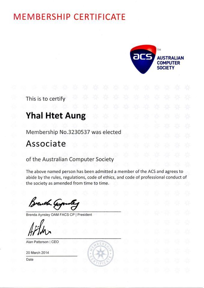 Australian Computer Society Certificate