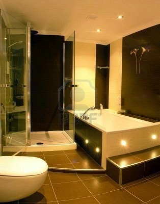 modern bathroom with a glass enclosed shower stall and a hot tub