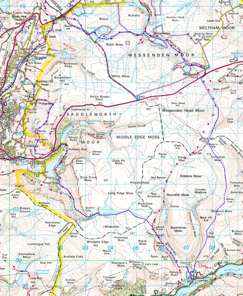 My Walking Log A Saddleworth Moor Circuit Map Circuitmap