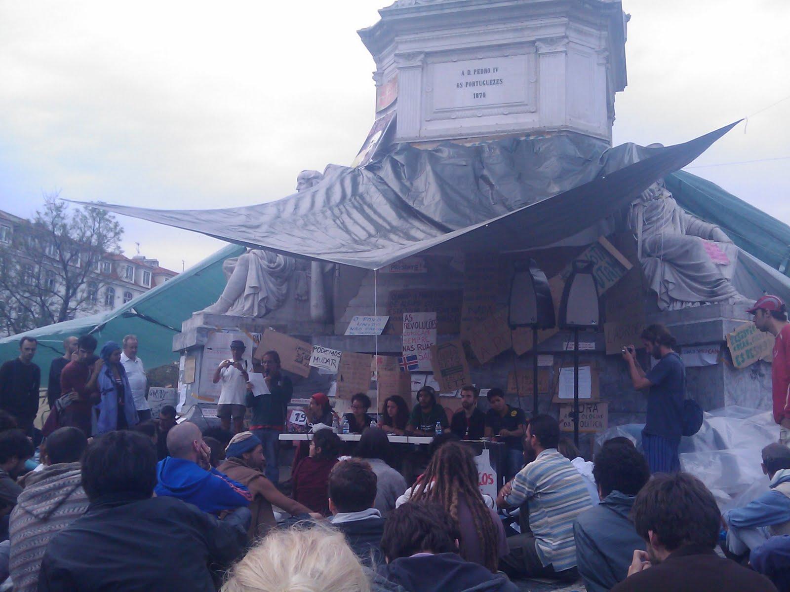 La Plaza Rossio ha sido el lugar de encuentro de los indignados portugueses