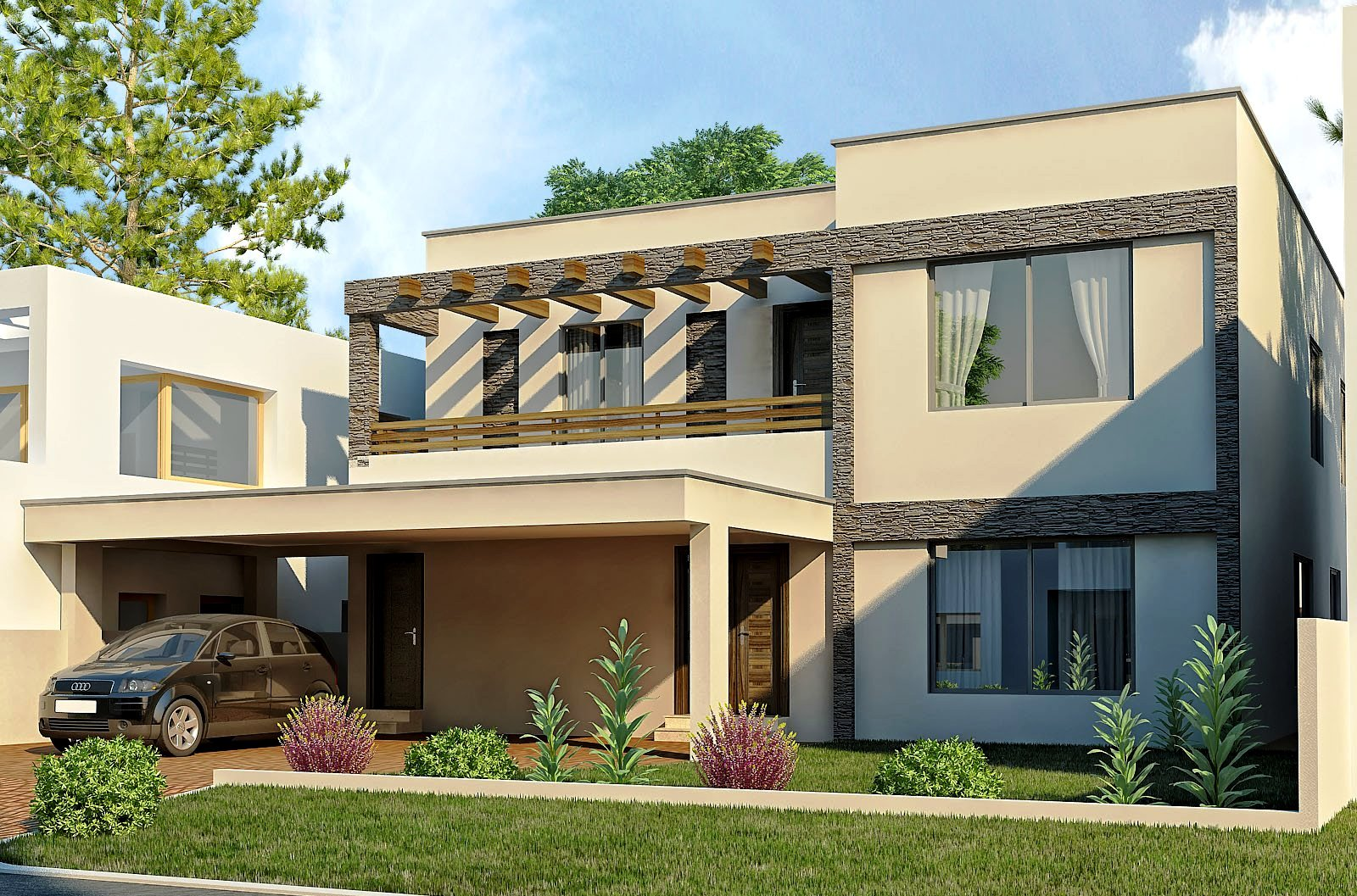 New home designs latest modern homes exterior designs views for Modern house design with garden