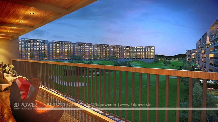 Night View of 3D Township Balcony