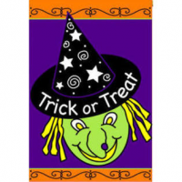 halloween witch garden flag
