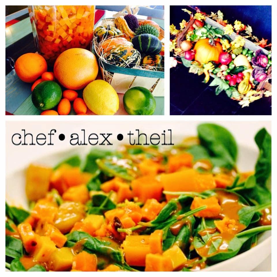 Chef Alex Theil Partner von Klaus Piber Mercado Latin Inspired Market Cuisine Wien Stubenring 18 001 Kuerbis Kumquats Limetten Orangen Spinat Nuesse Salat