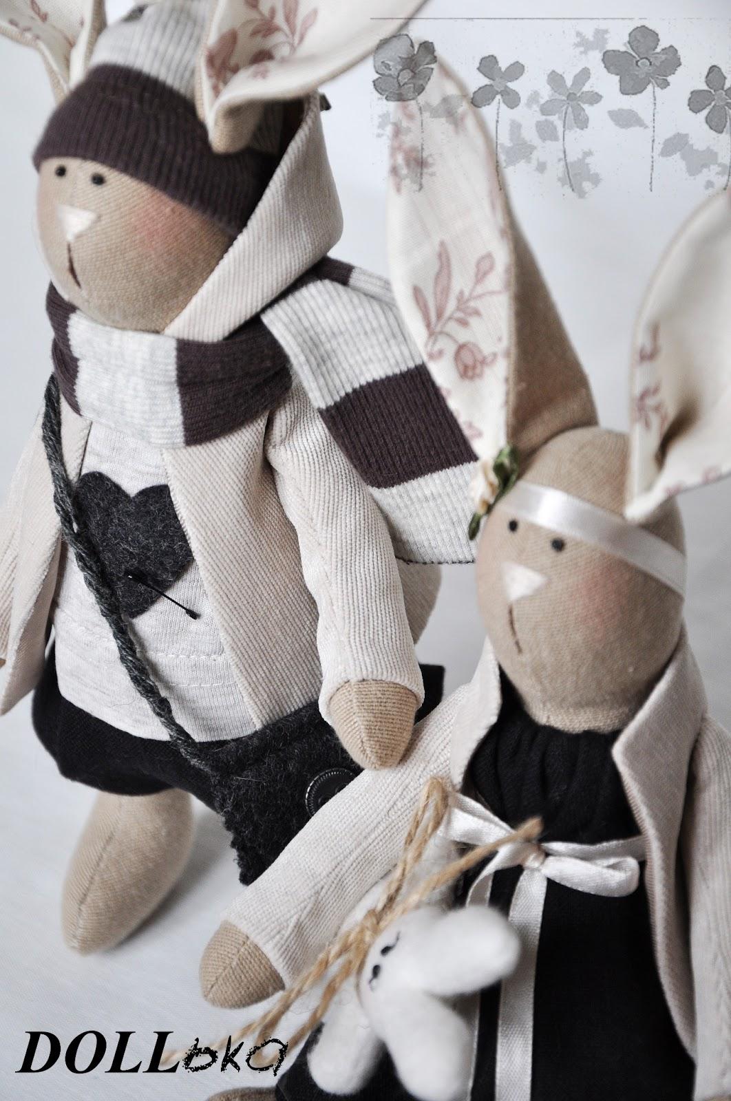 Зайцы текстильные игрушки ручной работы