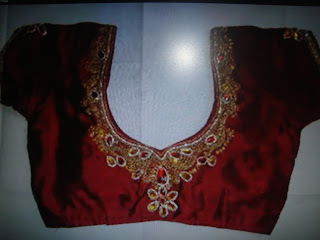 RED STONE ATTACHED BACK NECK BLOUSE