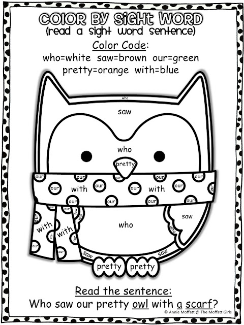... Moffatt Girls: Winter Color by Sight Word Sentences (Primer Edition