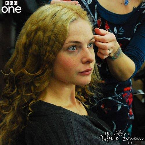 Actress Rebecca Ferguson in make-up for The White Queen
