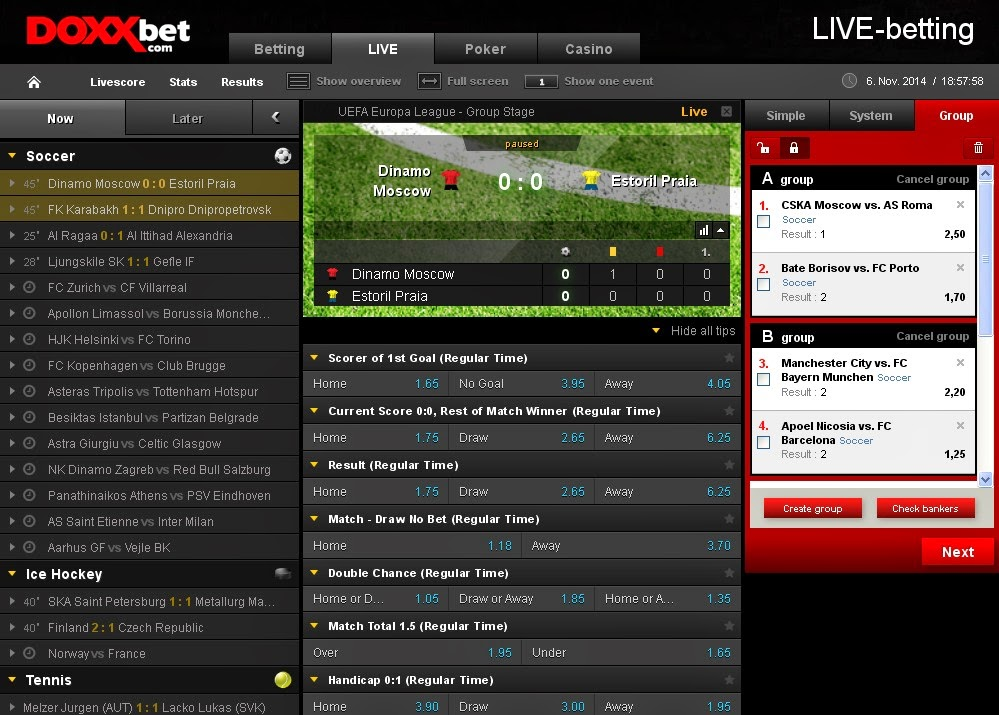 Doxxbet Live Betting Screen