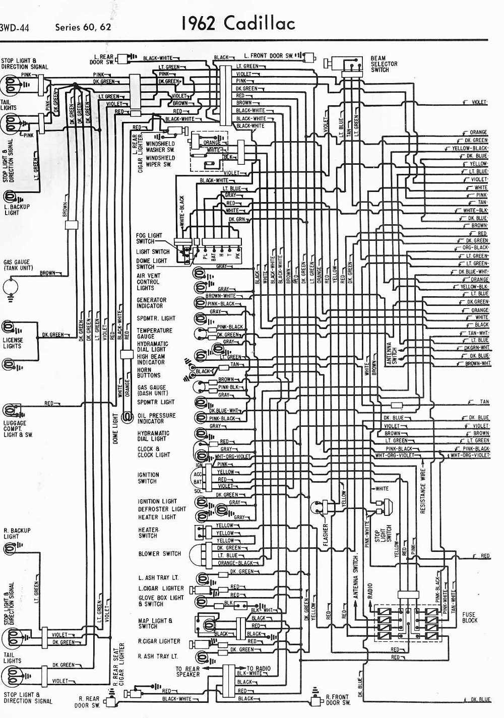 Wiring Diagrams Schematics 1962 Cadillac Series 60 And 62 Part 1