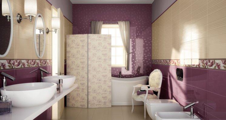 Baños Modernos Beige:Hermoso baño en colores violeta y crema Decoración de baño donde