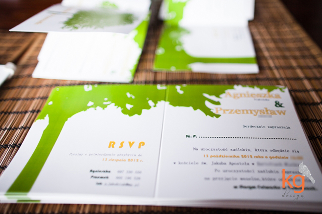 artystyczne, nietypowe, oryginalne zaproszenia ślubne, ręcznie robione z motywem drzewa, motyw przewodni, zielony, żółty,
