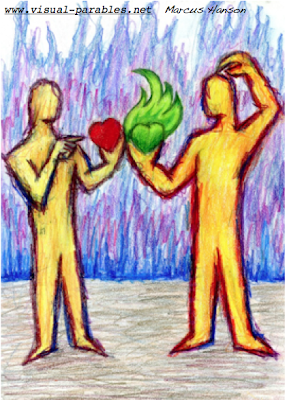 two people comparing hearts with the average guy exalting his over the passionate one