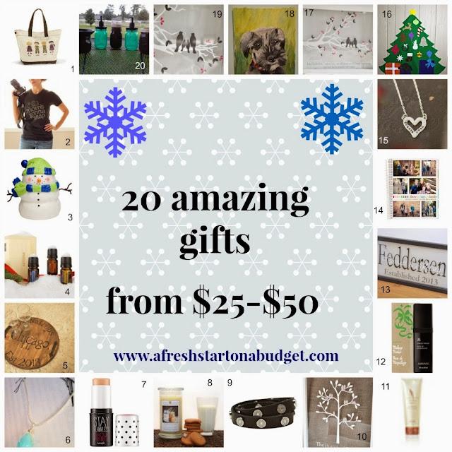 http://afreshstartonabudget.com/2013/11/20-amazing-gifts-from-25-50-part-2.html