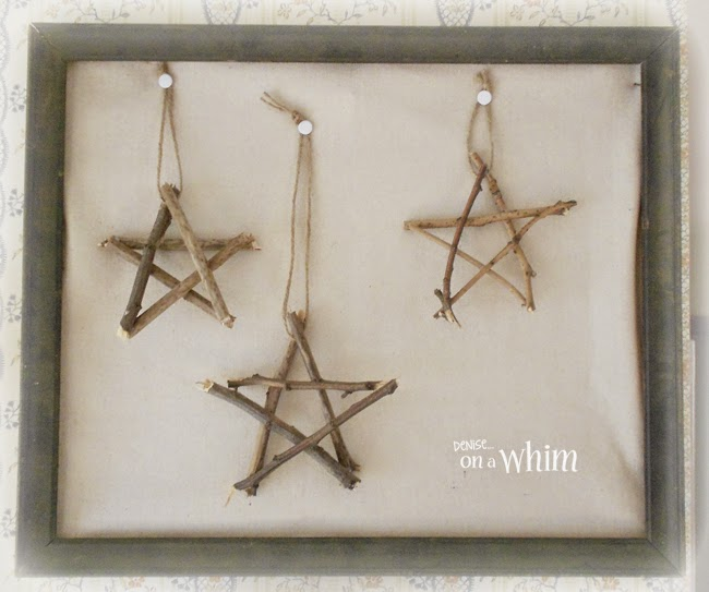 DIY Stars Made out of Twigs in a Vintage Frame via Denise on a Whim