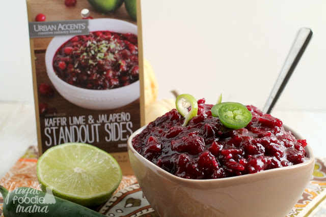 Traditional cranberry sauce gets a savory twist with bright lime and a kick of jalapeno in this Kaffir Lime & Jalapeno Cranberry Sauce. #ad