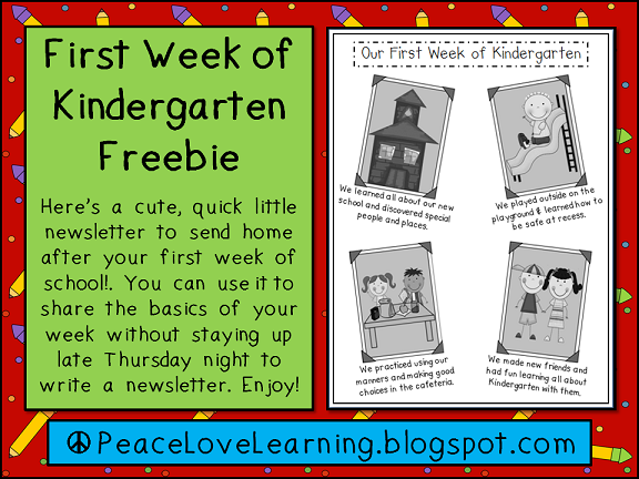 First Week Newsletter Freebie from Peace, Love & Learning
