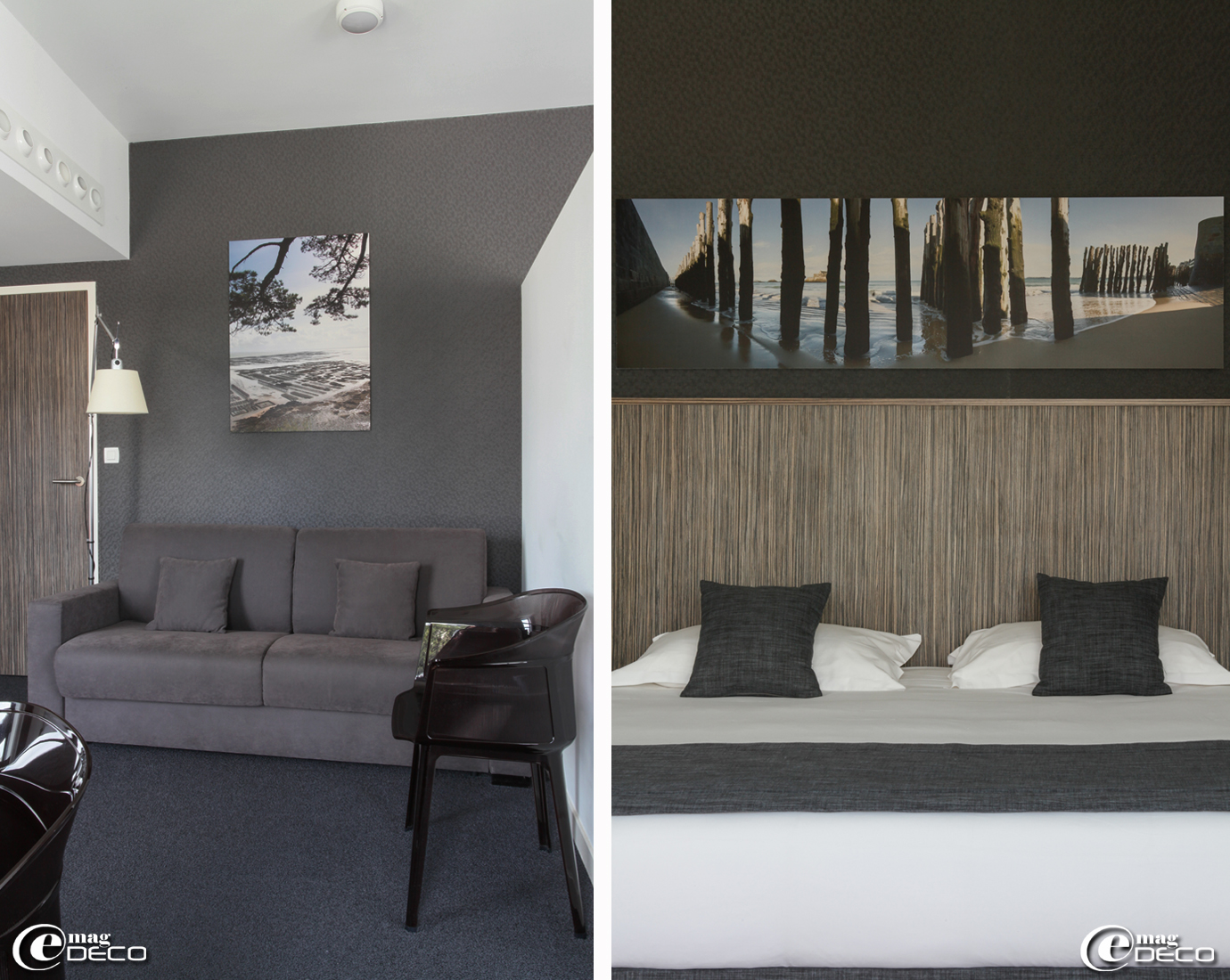Le salon d'une Suite de l'hôtel Best Western Balmoral à Saint-Malo est équipé d'un lampadaire articulé 'Artemide' et de fauteuils 'Papyrus' créés par Ronan et Erwan Bouroullec pour 'Kartell'