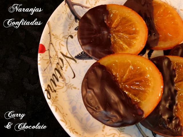 Naranjas confitadas y con chocolate