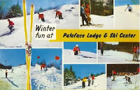 Paleface postcard caption: Winter thrills - snow time is here. For this the skiers have waited all year (courtesy www.teachski.com).  The Saratoga Skier and Hiker, first-hand accounts of adventures in the Adirondacks and beyond, and Gore Mountain ski blog.