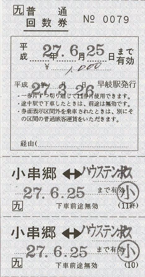 JR九州 千綿駅 発駅常備普通回数券