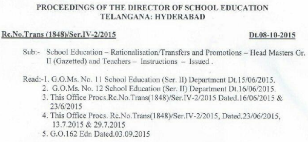 TS Rc 1848 Guidelines on Transferred Teachers Relieving 2015