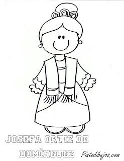 Josefa Ortiz de Dominguez para colorear | Independencia de Mexico