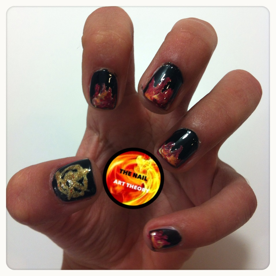 The nail art theory i dont own a mockingjay pin so i painted it myself for the non followers of the hunger games it is the golden insigne in my thumb solutioingenieria Image collections