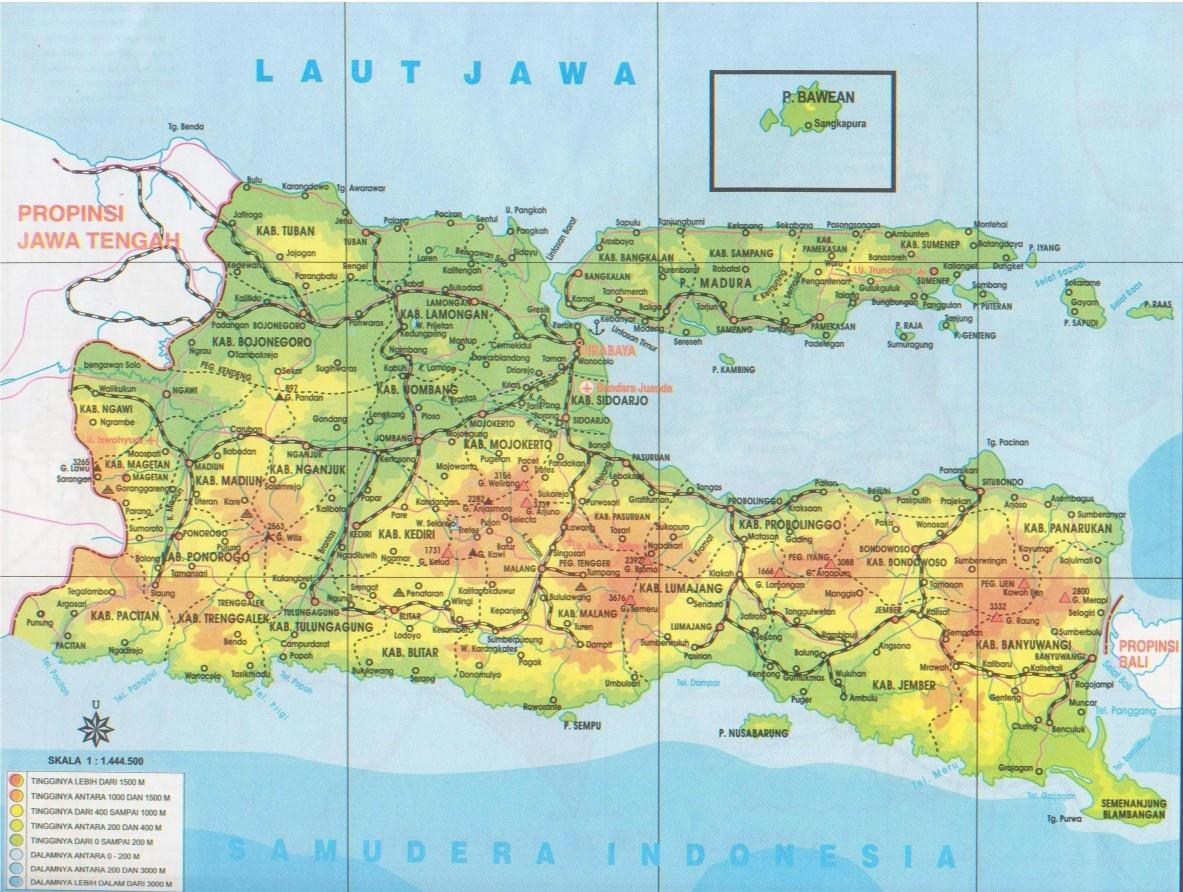 Peta Kota Provinsi Jawa Timur Gambar Surabaya Bali